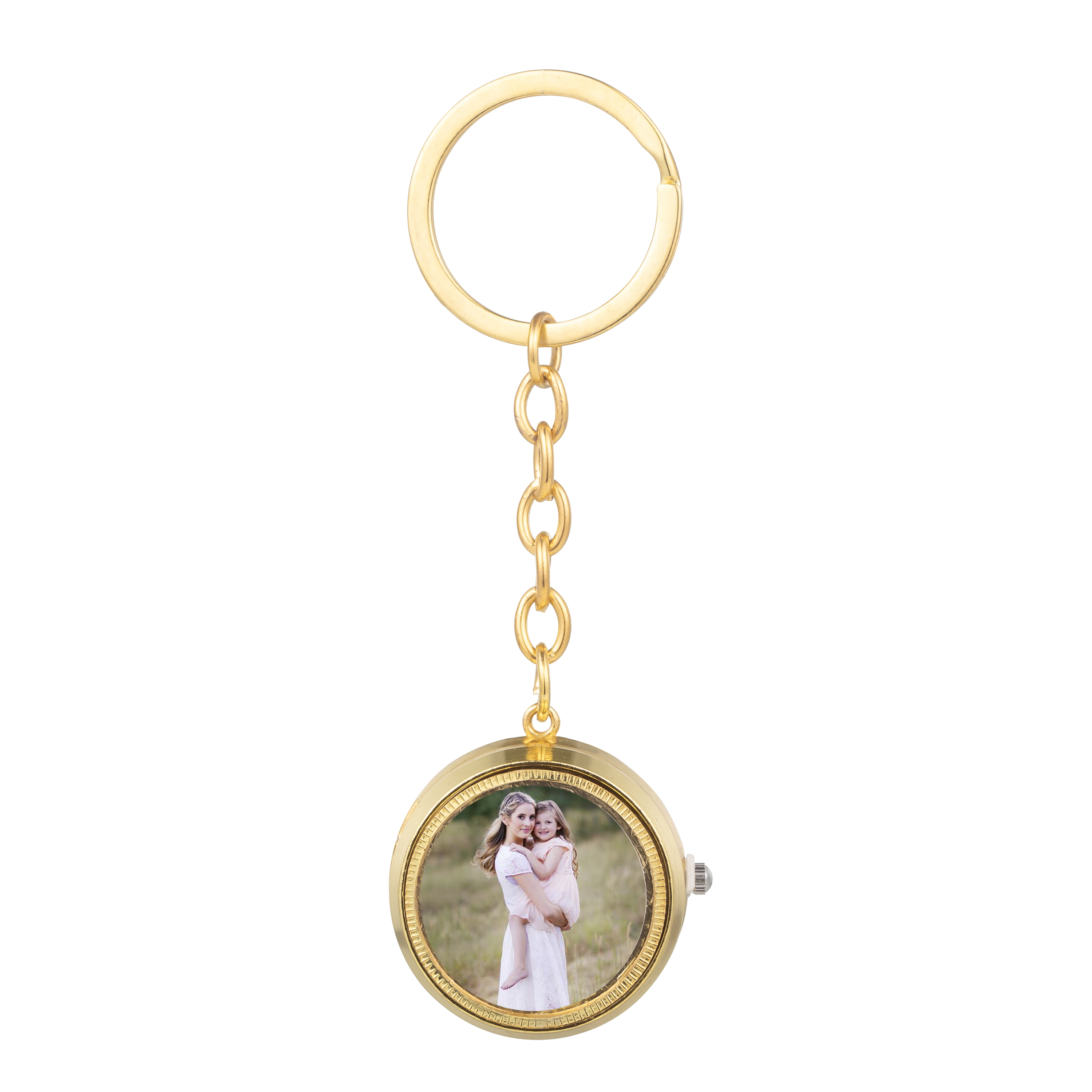 Personalized Picture Rotatable Pocket Watch Custom Keychain For Women Photo Silver /Glod Color Choker Memorial Key Chain