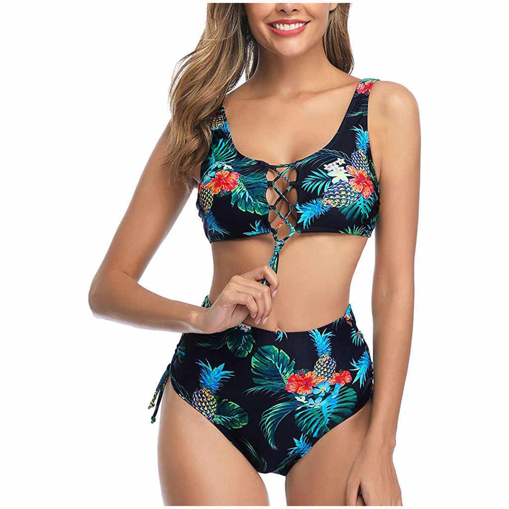Wanita Vintage Bikini Baju Renang Dua Potong Baju Renang Retro Halter Bohemian Tinggi Pinggang Cetak Biquini Set Swimsuit Beachwear Бикини