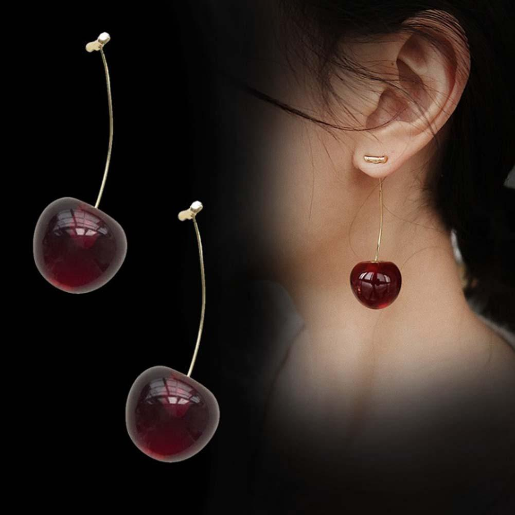 Women Sweet Cherry Shape Dangle Jacket Pendant Earrings Party Jewelry Birthday Gift Woman's accesories Earrings for Party image