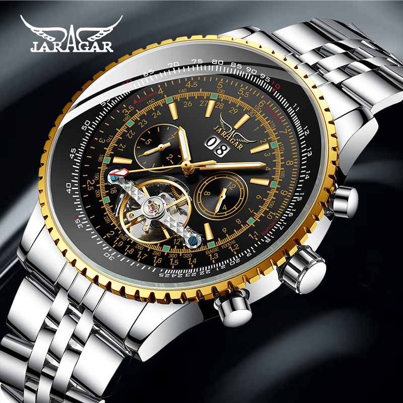 Jaragar Top Brand Golden Bezel Scale Dial Design Stainless Steel Mens Watch Luxury Automatic Mechanical Watch