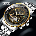 Jaragar Top Marke Goldene Lünette Skala Zifferblatt Design Edelstahl Herren Uhr Luxus Automatische Mechanische Uhr