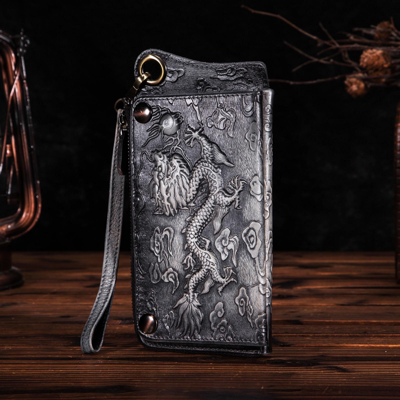Unisex Genuine Quality Leather Fashion Brand Chain Checkbook Zipper Around Organizer Wallet Purse Design Clutch Handbag Ck001bd