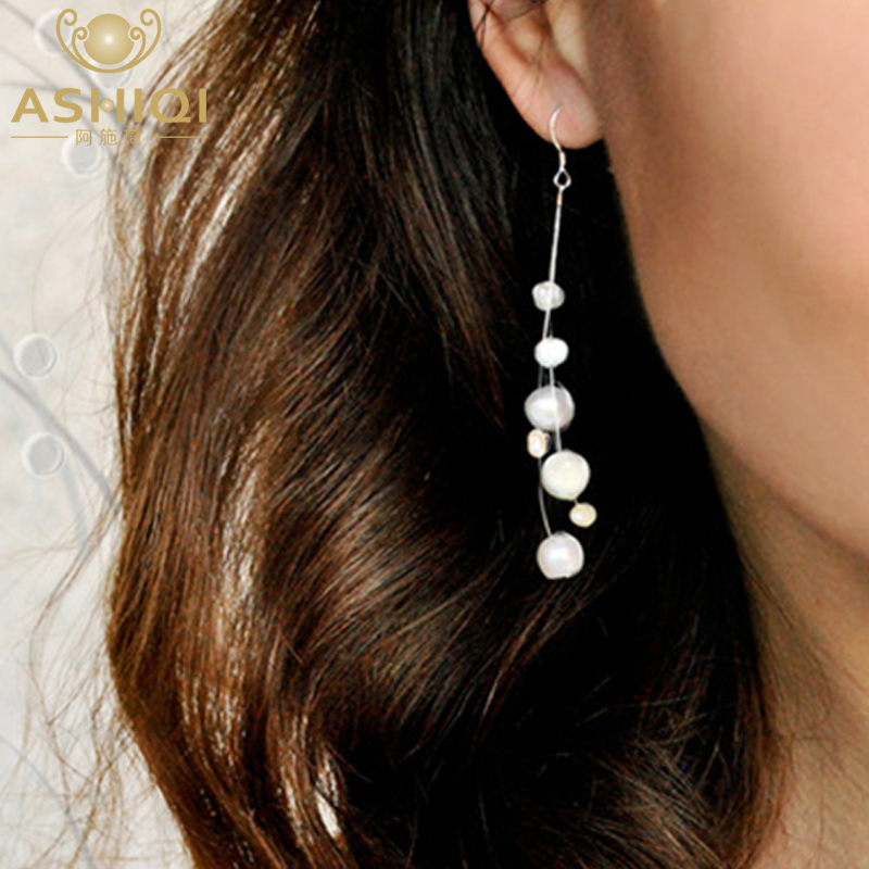 ASHIQI White Natural Freshwater Baroque Pearl Bohemian Earrings 925 Sterling Silver Long Tassels Dangle Earrings For Women Gifts
