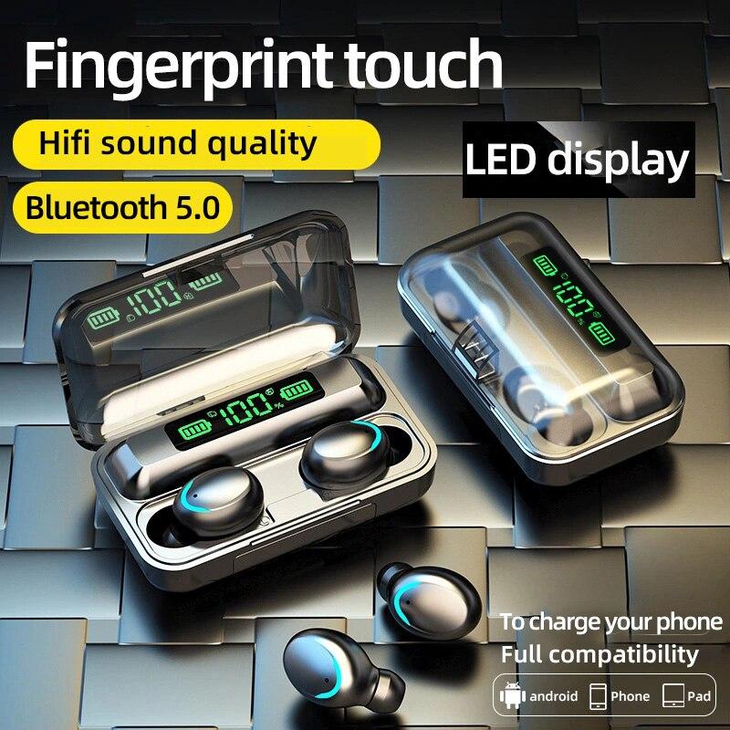 Auriculares F9 TWS con Bluetooth 5,0, auriculares estéreo inalámbricos auténticos de 2200mAh, auriculares de alta fidelidad, Auriculares deportivos resistentes al agua con micrófono