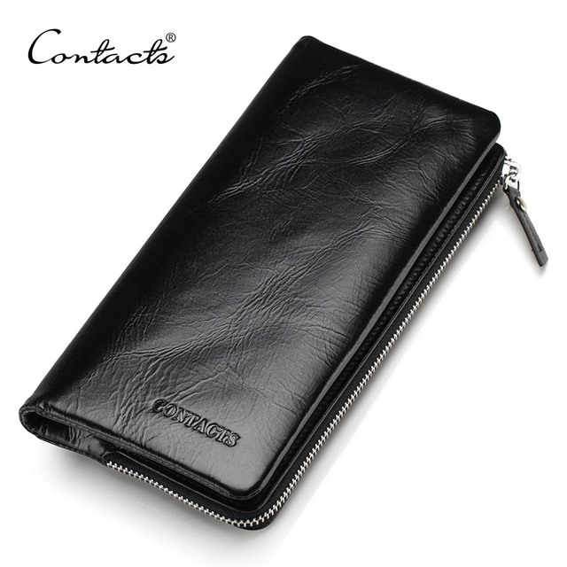 CONTACTS 2020 New Classical Genuine Leather Wallets Vintage Style Men Wallet Fashion Brand Purse Card Holder Long Clutch Wallet