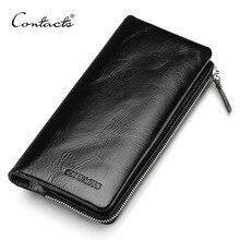 CONTACTS 2020 nouveau classique en cuir véritable portefeuilles Vintage Style hommes portefeuille de mode marque sac à main porte carte longue pochette portefeuille