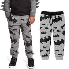 Длинные брюки для активного отдыха для мальчиков от 2 до 7 лет, одежда для мальчиков, хлопковые спортивные брюки для мальчиков с принтом летучей мыши, быстросохнущие штаны для мальчиков