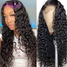 Abijale 13x4 eau vague dentelle avant perruque 4x4 dentelle fermeture perruque profonde bouclés cheveux humains perruques pour les femmes noires Remy 150% densité