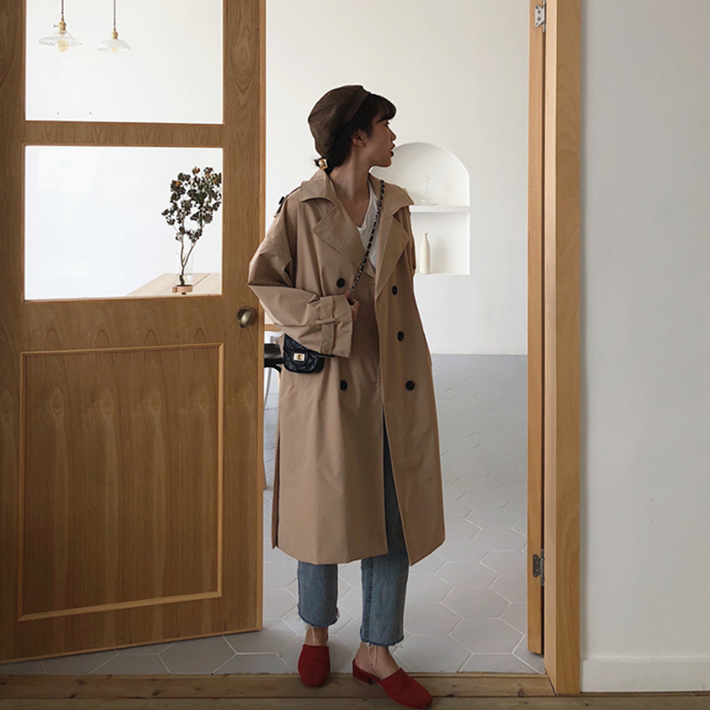 Autumn Winter Women's Coat Khaki Belt Long   Trench   Turn-Down Collar Double Breasted Female Casual Office Lady Outwear