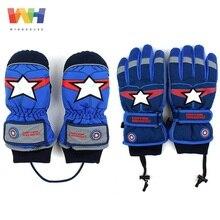 Зимние Детские перчатки Marvel Капитан Америка, лыжные перчатки для мальчиков, зимние теплые водонепроницаемые нескользящие перчатки для снежной погоды