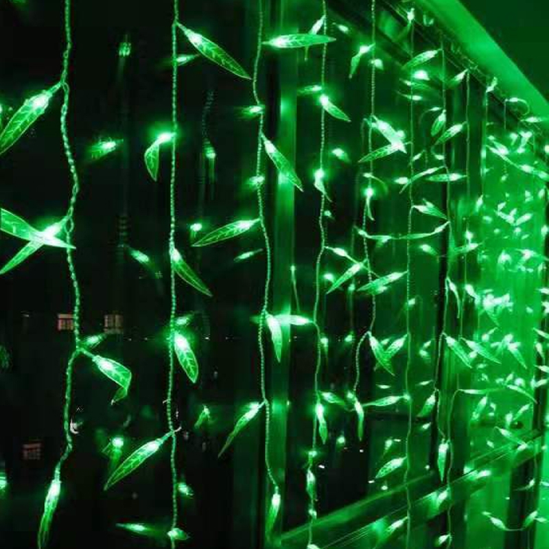 Green Willow Leaf Curtain Light IP44 Waterproof Outdoor String Fairy Lights Holiday Bedroom Home Party Christmas Tree
