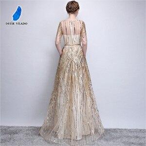 Image 3 - DEERVEADO Robe De Soiree Half Sleeves Long Evening Dresses with Belt Sequins Formal Dress Women Occasion Party Dresses YS449