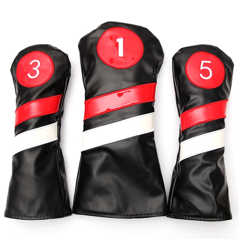 Golf Club #1 #3 #5 Wood Headcovers Driver / Fairway Rescue Woods / Hybrid PU Leather Head Covers Set Protector