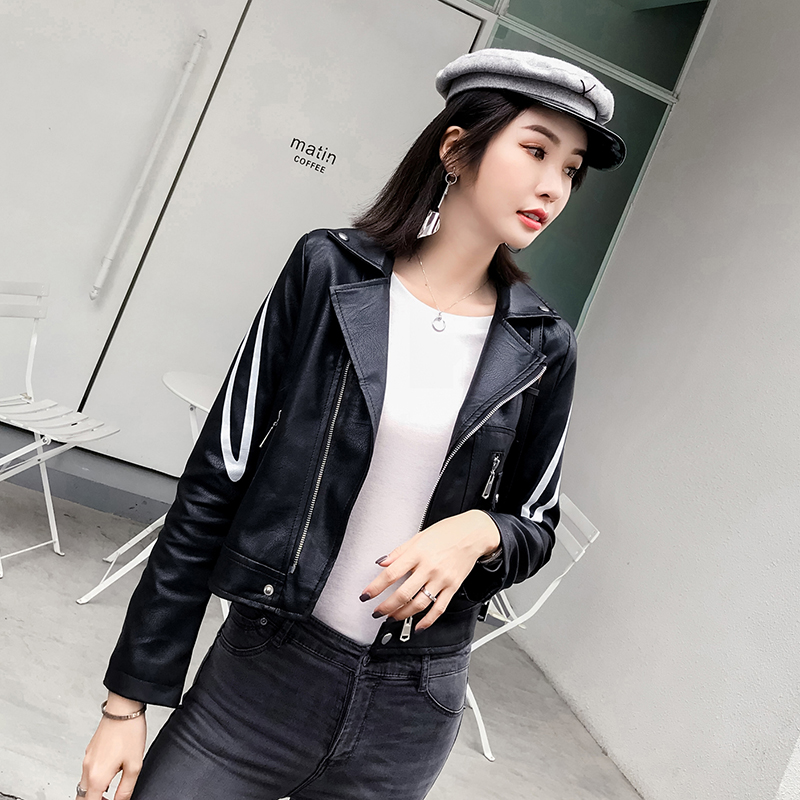 Fashion Women's   Leather   Sequins Jackets Autumn Black & Red Simple PU Faux   Leather   Motorcycle Jacket Streetwear Hip Hop Outwear