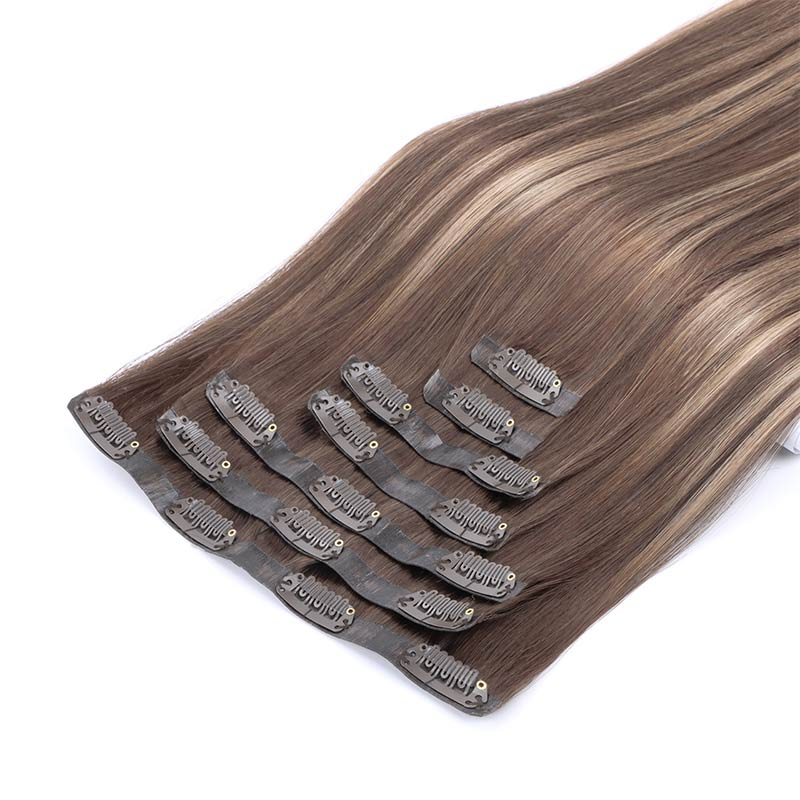 PU Clip in Hair Extensions Remy Human Hair Thick Real Hair Extensions with PU Clips Seamless Straight  Extensions 7pcs 120G