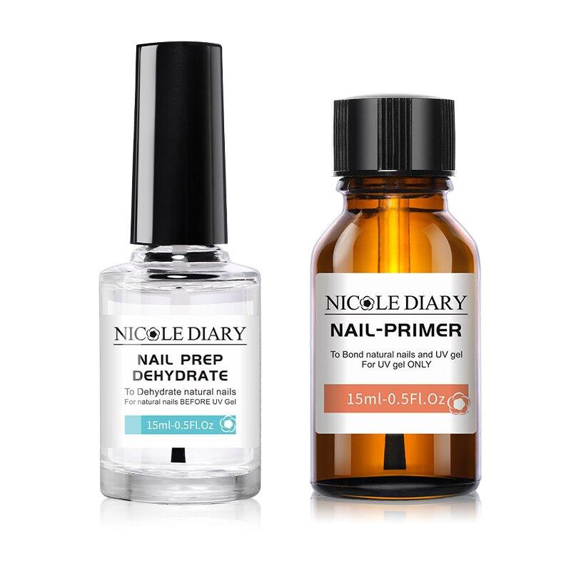 NICOLE DIARY 15ML Nail Prep Dehydrator And Nail-Primer Set Free Grinding Nail Art No Need Of UV LED Lamp Gel Nail Polish Tool