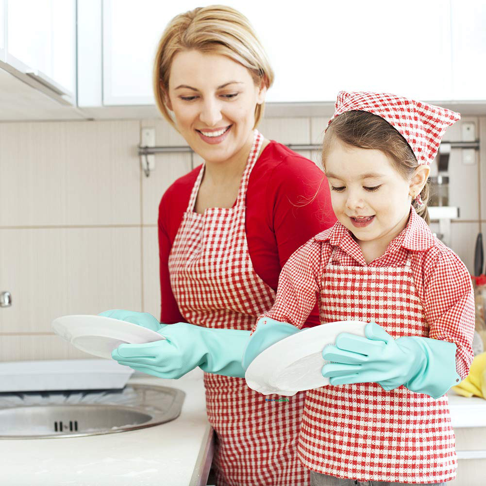 Silicone Dish Washing Gloves With Scrubber And Dish Washing Sponge Rubber Scrub Gloves