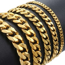 3-11mm Stainless Steel polished Bracelet for Men Curb Chain Cuban Link Men's Bracelet Black Gold Silver Color Jewelry DKBM158 granny chic 12 15 17 19mm fashion curb cuban mens necklace chain silver gold stainless steel necklaces for men jewelry 7 40 inch