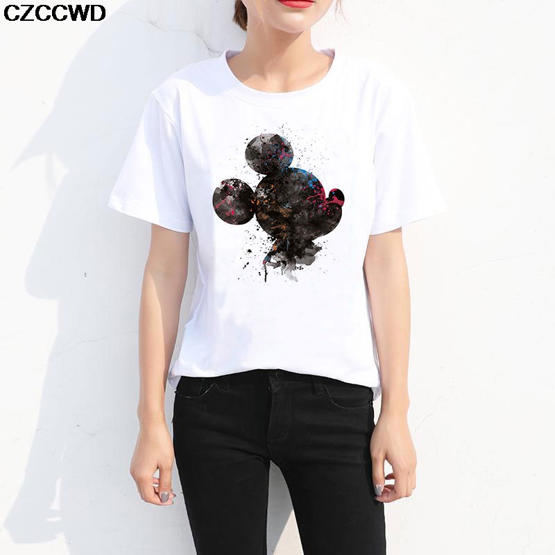 CZCCWD Camisas Mujer 2019 New Streetwear White Shirt Harajuku Kawaii Mouse Tshirt Women Leisure Fashion Fun Female T-shirt Tops(China)