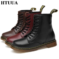 HTUUA Women Boots Genuine Leather Ankle Martens Boots for Women Casual Dr. Motorcycle Shoes Warm Fur Winter Couple Shoes SX3252