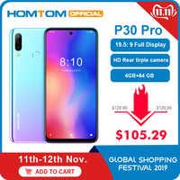 HOMTOM P30 pro Android 9.0 4G téléphone portable MT6763 Octa Core 4GB 64GB 4000mAh 6.41 pouces Face ID 13MP + Triple caméras Smartphone