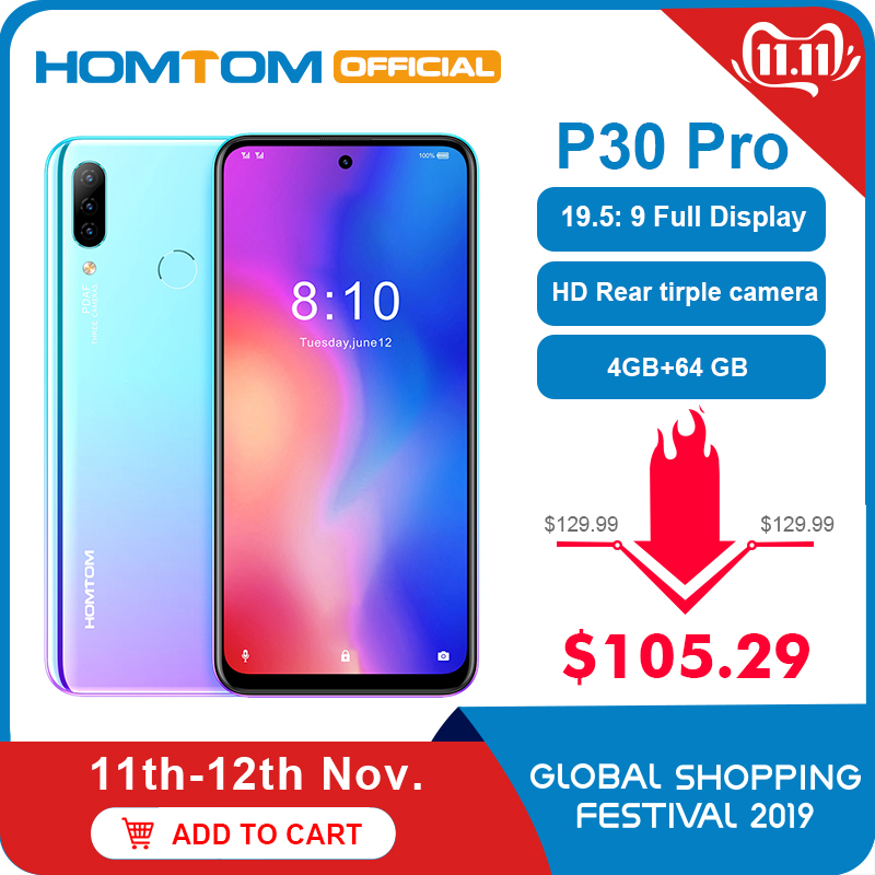HOMTOM P30 pro Android 9.0 4G Mobile Phone MT6763 Octa Core 4GB 64GB 4000mAh 6.41 inch Face ID 13MP+ Triple Cameras Smartphone-in Cellphones from Cellphones & Telecommunications