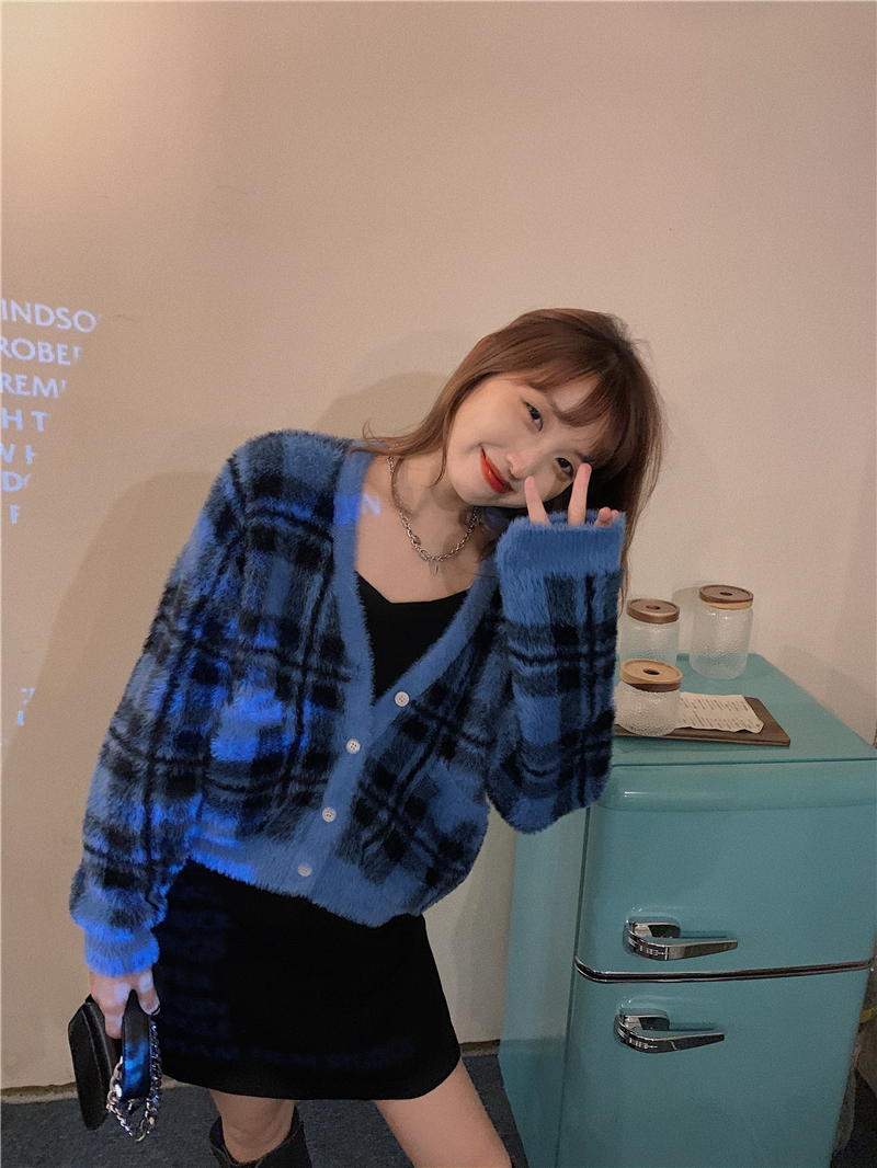 Vintage argyle knitted cardigans women sweaters kawaii mohair sweater winter korean sweater clothes 2020 new 9