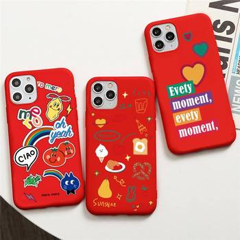 Funny personality stickers Phone Case for iphone 12 pro max mini 11 pro XS MAX 8 7 6 6S Plus X 5S SE 2020 XR red case image
