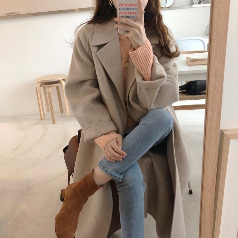 19 Winter Oversize Long Trench Coat Women Cashmere Coat Korean Lady Windbreaker Outwear Streetwear 89