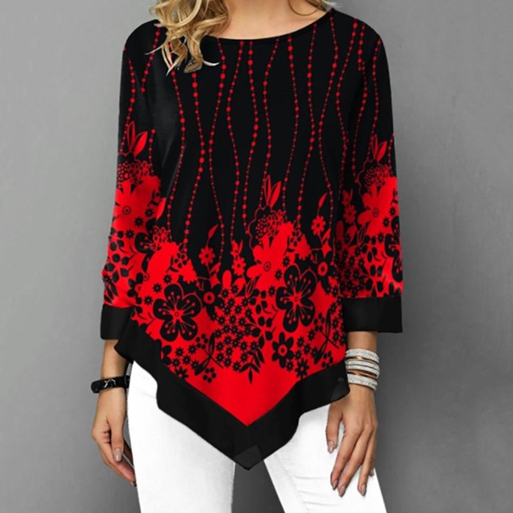 Women Round Neck Loose Irregular Hem Top Spring Autumn Long Sleeve Plant Flowers Printed Chiffon Stitching Casual Tops Shirt D30