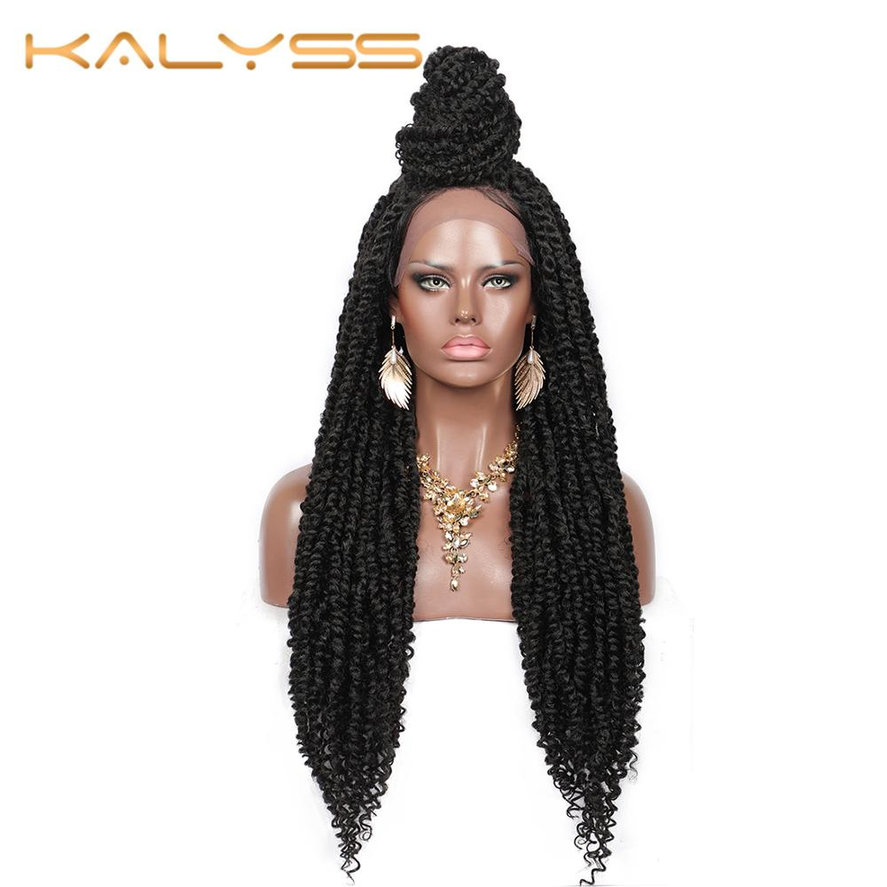 "Kalyss 30 Inches Braided Wigs With Baby Hair For Women Passion Twist 4X4"" Swiss Lace Braids Wigs With Water Wave Curls Ends DIY"