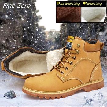 Nowe mody wodoodporne męskie buty zimowe nowe buty śniegowce nubukowe mężczyźni prawdziwej skóry oksfordzie botki futrzane buty wojskowe duży rozmiar 47 tanie i dobre opinie Fine Zero Pracy i bezpieczeństwa Skóra bydlęca ANKLE Lace-up Pasuje większy niż zwykle proszę sprawdzić ten sklep jest dobór informacji