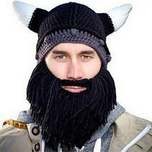 Hat Wool Horned Beard-Mask Party-Caps Halloween Knit Funny Autumn Winter Creative Keep-Warm