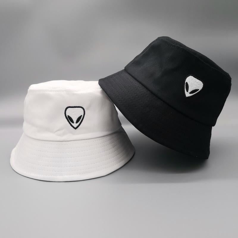 Unisex Embroidered Alien Foldable Bucket Hat Beach Sun Hat Street Headwear Fisherman outdoor Cap men and woman Hip Hop Caps