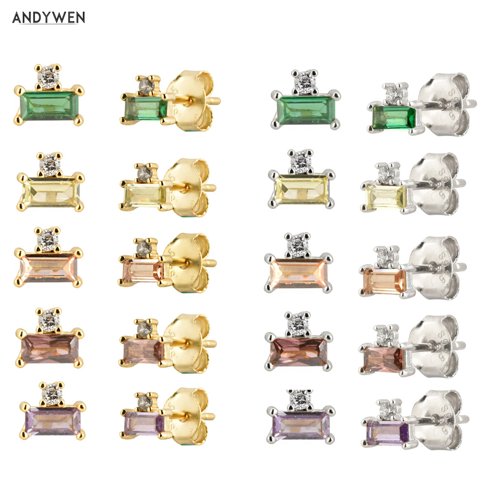 ANDYWEN 100%  925 Sterling Silver Simple Stud Earring 2*4mm Luxury Mini Zircon Crystal Ohrringe Women Rock Punk Piercing Jewelry