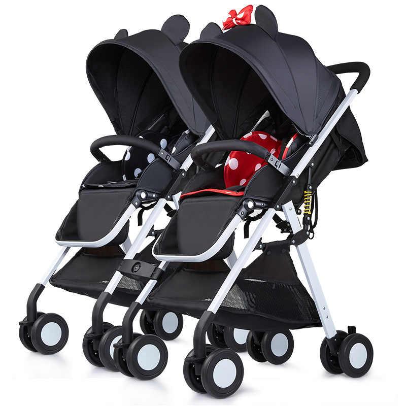Легкая детская коляска, переносная коляска для близнецов, складная коляска для новорожденных, с высоким пейзажем, с карманом, с зонтиком, два автомобиля для детей