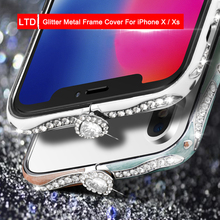 Glitter Jewelled Diamond Metal Frame Cover For Apple iPhone X / XS  Phone Case Anti-fall Flash Shell Xs Smartphone