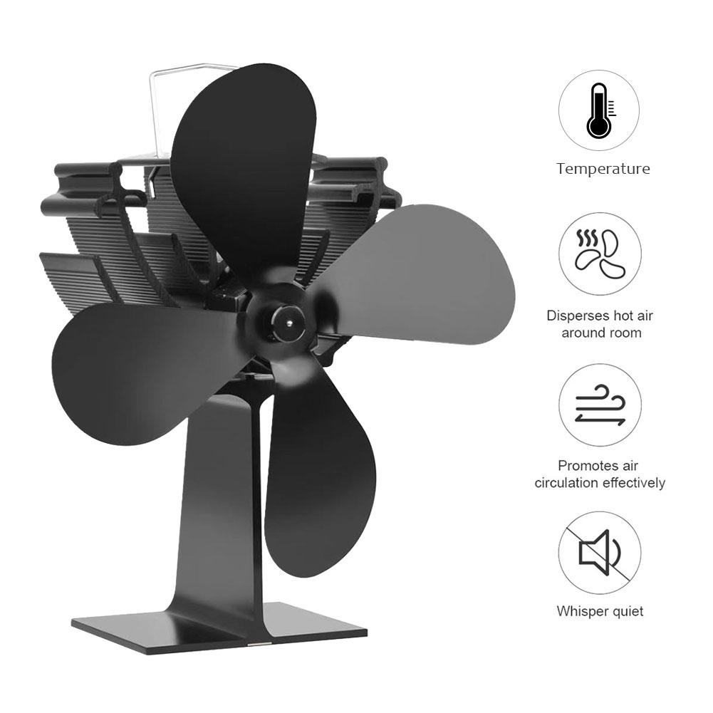 Portable Mini Stove Fan With Temperature Display 4 Blade Fireplace Fan Heat Powered Eco Friendly Quiet Stove Fan Winter Supplies