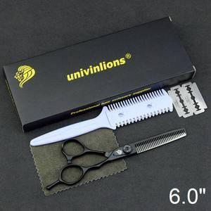 """Image 4 - 6"""" black hair scissors japanese razor hairdressing scissors barber hair clipper for salon hairstylist hair cutting shears kit"""