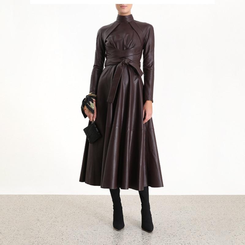 Haute qualité en cuir synthétique automne robe femmes col montant à manches longues ceinture à lacets taille Midi robes femme 2019 mode