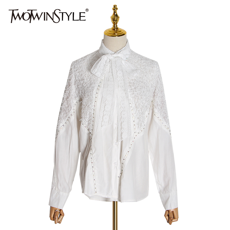 TWOTWINSTYLE Patchwork Tassel Beading Shirts For Women Bow Collar Lantern Long Sleeve Asymmetrical Blouses Female Clothing Tide