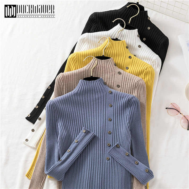 Duckwaver Button Turtleneck Sweater Women Spring Autumn Solid Knitted Pullover Women Slim Soft Jumper Sweater Female Knit Tops