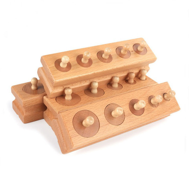 Kids Montessori Materials Wooden Toys for Children Wood Socket Cylinder Block Shape Matching Game Baby Educational Learning Toy
