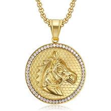 Hip Hop Iced Out Bling zwierząt głowa konia wisiorek długi naszyjnik dla mężczyzn złoty kolor biżuteria męska ze stali nierdzewnej wysokiej jakości
