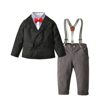 Toddler Kids Blazers Autumn Children Clothing Baby Boys Suits Gentleman Sets Long Sleeve Shirt Coat Overalls Tie Outfits Clothes