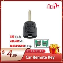 Yeni 2021 araba uzaktan kumandalı anahtar 2 düğme 433Mhz için Citroen Saxo Picasso Xsara Berlingo SX9 araba aksesuarı