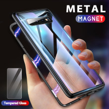 Getihu Logam Magnetic Case untuk Samsung Galaxy S10 Edge S9 S8 Plus Catatan 9 8 S7 Ponsel Tritone + kaca Tempered Magnet Penutup(China)