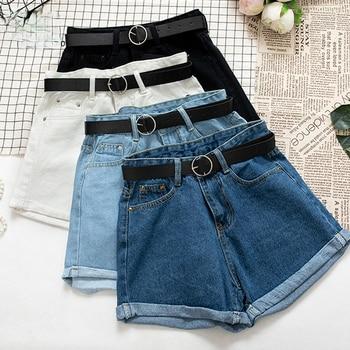 All Match Sashes Casual Women Denim Shorts Crimping High Waist Slim Summer Jeans Shorts Feminino Chic Hot Ladies Bottom 1