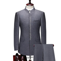 Mens Business Casual Suits Set Chinese Stand Collar Men's Tunic Suits Slim Fit Youth Chinese Embroidered Suits Wedding Dress
