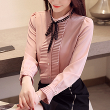 New Pleated White Women Chiffon Shirts Fashion Clothes Bow Collar Womens Tops Long Sleeves Autumn Blouses 933H60
